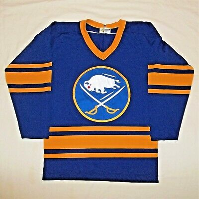 Vintage 70 s Buffalo Sabres NHL CCM Maska Superfil Hockey Jersey Youth M  SEWN 1a3a974e0