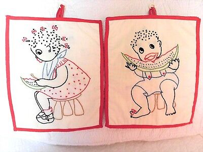 VINTAGE Black Americana hand stitched POT HOLDERS Wall Hangings Boy Girl pair