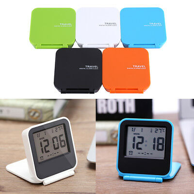 Pocket Foldable LCD Digital Table Desk Alarm Clock Snooze Date Day Thermometer