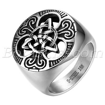 Men's Vintage Biker Stainless Steel Round Celtic Knot Signet Rings Band #7-#14