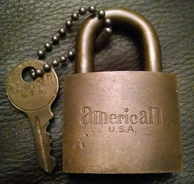 Vintage Antique American Us Military Solid Brass Lock Padlock & Original Key