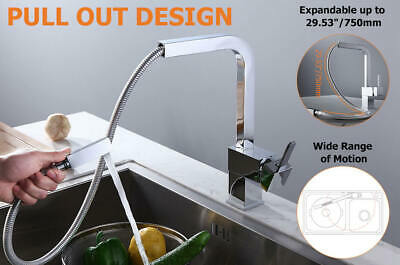 Modern Single Handle Square Pull-Out Brass Kitchen Washing Sink Faucet in Chrome