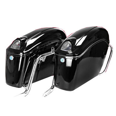 Motorcycle Side Bag Black Motorcycle side boxes Luggage Trunk Tail Light