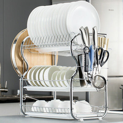 Kitchen Dish Cup Drying Rack Holder Sink Drainer 3-Tier Stainless Steel Q9K8