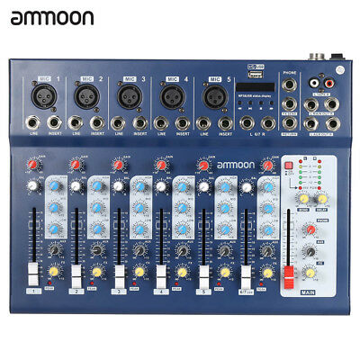 ammoon F7-USB 7-Channel Digital Mic Line Audio Sound Mixer Mixing Console H6O3