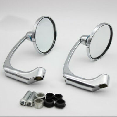 2 Pcs Chrome Round Bar End Rearview Side Mirror Adjustable For Cafe Racer Newest