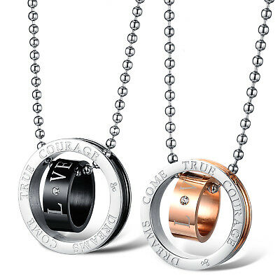 Fashion Unisex 316L Stainless Steel Double Ring Chain Couple Necklace Gift GX505