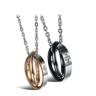 Fashion Unisex 316L Stainless Steel Double Ring Chain Couple Necklace Gift GX828