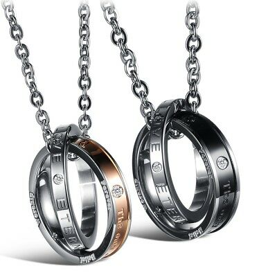 Fashion Unisex 316L Stainless Steel Double Ring Chain Couple Necklace Gift GX832