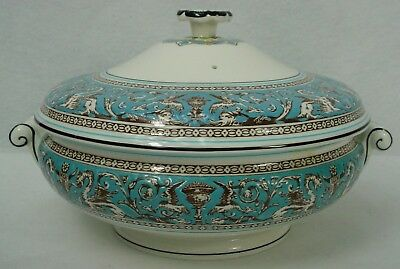 WEDGWOOD china FLORENTINE TURQUOISE W2714 Round Covered Serving Bowl verge wear