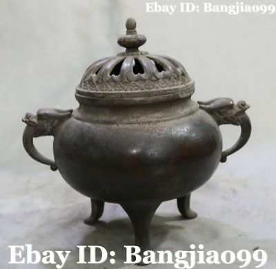 """9"""" Old Chinese Purple Bronze Ancient Dragon Loong Incense Burner Censer Statue"""