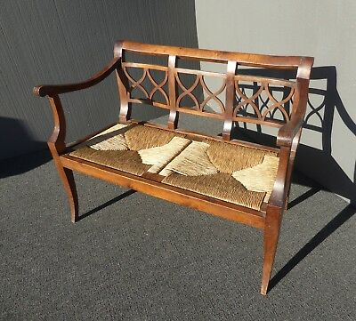 Vintage French Country Style Wood & Rush Seat Bench ~ Settee