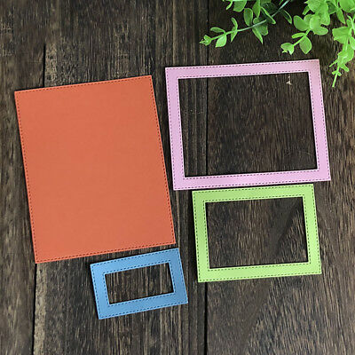 Stitched Rectangle Frame Metal Dies Cutting Scrapbooking Metal Craft Embossing