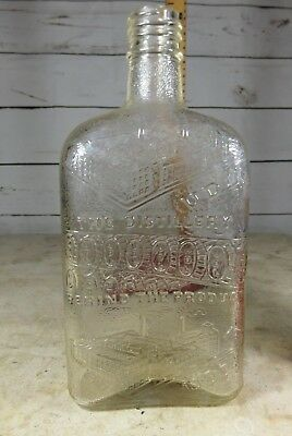 VINTAGE, RARE, VERY NICE ANTIQUE UDL WHISKEY FLASK/ BOTTLE Dominion Glass Co