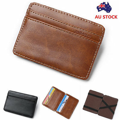 Mens Magic Flip Wallet leather Money Clip Slim ID Credit Card Holder Cash