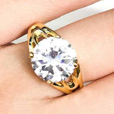 4 Ct Round Solitaire Diamond Ring Gold Plated Women Jewelry Gift Size 6 7 8