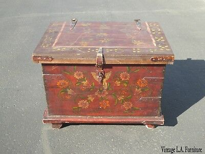 Vintage Mid Century Rustic Red Chest Trunk ~ Hand Painted Floral Storage Box