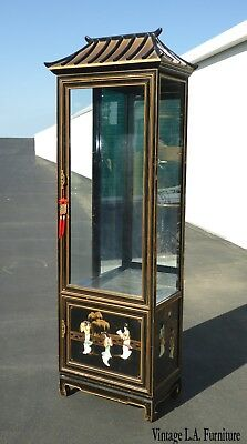 Vintage Asian Chinese Chinoiserie Pagoda Black Curio Cabinet Display CaseStorage