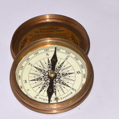 Vintage Nautical Robert Frost Poem Engraved London Compass Old Marine gift item