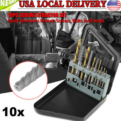 10Pcs Screw Extractor and Left Hand Cobalt Drill Bit Set,Bolt and Stud Removers