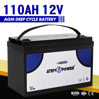 110AH 12V AGM Battery Deep Cycle Batteries Heavy Duty Camping Marine 4WD Solar