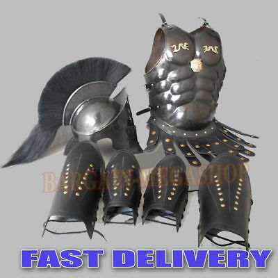 New 300 Medieval King Roman Leonidas Spartan Helmet W/ Muscle Jacket Movie Helm