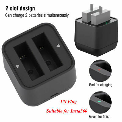 Dual Camera Battery Charger USB Port Accessory For Insta360 One X Action Cameras