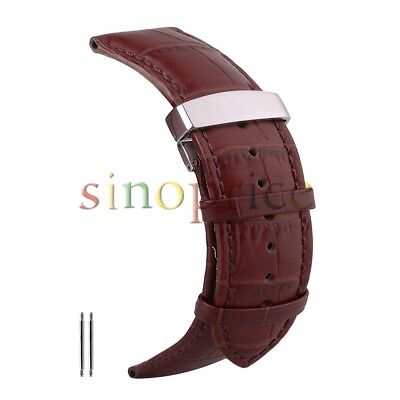 16mm Alligator Replacement Leather Watch Straps Dark Brown Color Soft Leather