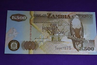 Zambia 500 Kwacha Banknote. 1992 in Perfect condition. Africa. Eagle, Elephant