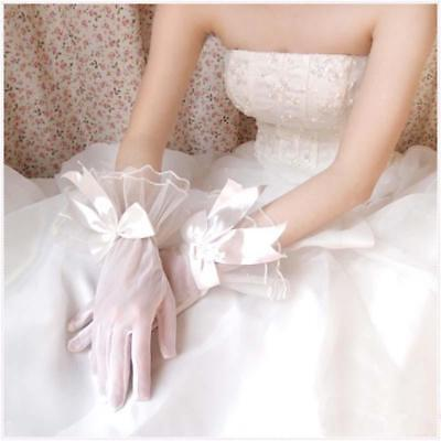 Rayon Lace Floral Rhinestone Wedding Evening Party Prom Short Bridal Gloves T
