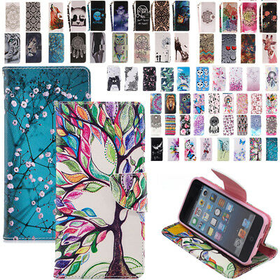 For iPod Touch 5th/6th Gen Patterned Magnet Leather Wallet Case Shockproof Cover