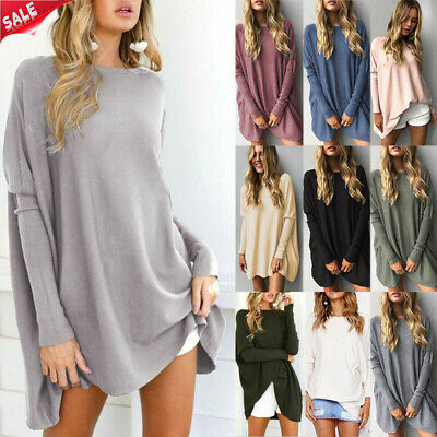 UK Womens Long Sleeve Sweater Blouse Ladies Oversized Jumper Pullover Tops