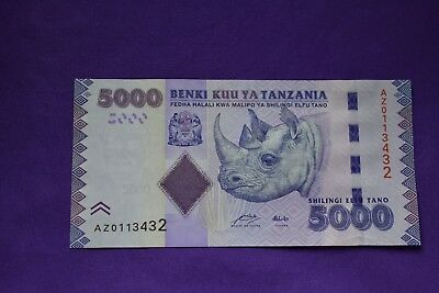 Tanzania 5000 Shilling Banknote. 2010 Superb note. Africa. Rhino