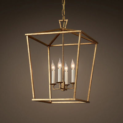 Vintage Geometric Cage Frame 4 Candle Light Kitchen Foyer Pendant Light in Brass