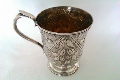 Rare & Beautifully Embossed Solid Silver Victorian Christening Cup 1855