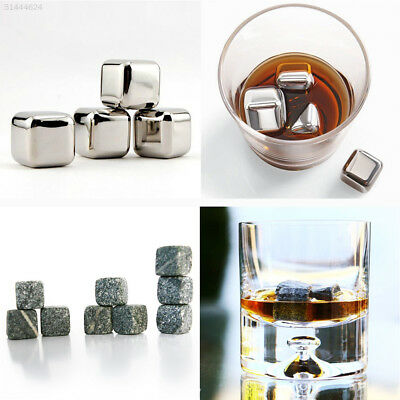 8E11 Reusable Stainless Steel Whiskey Stone Ice Cubes Chillers Freezer 2Type