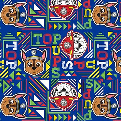 Paw Patrol Fleece Fabric - Top Pups Geo - Navy - 100% Polyester - Half Metre