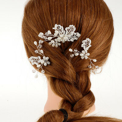 Baoblaze 3pcs Wedding Bridal Pearl Flower Crystal Hair Pins Bridesmaid Clips