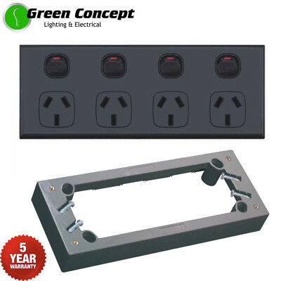 NEW Quad Power Point Black GPO Four 4 Gang Socket Outlet & 25mm Mounting Block