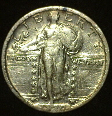 Very Nice 1920-S Standing Liberty Quarter Teardrop Die Break