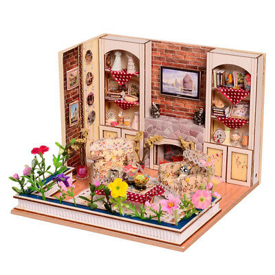1/24 Mini Dollhouse Wooden DIY Living Room Retro con lampada a LED