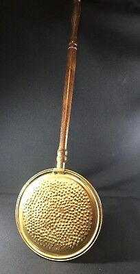 Vintage Brass Bedwarmer with long Wooden Turned Handle 19th century Textured Lid