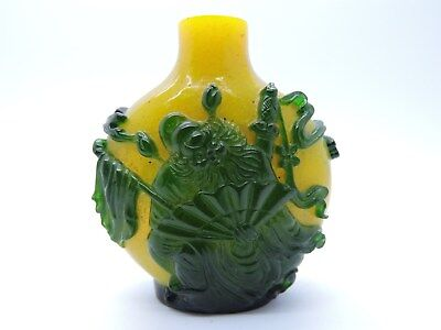 Super Galss Overlay Chinese Snuff Bottle Green On Yellow Snowflake