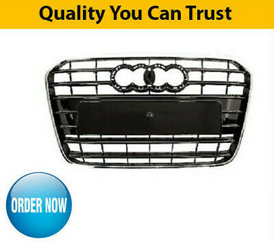 2012-2014 Audi A6 Front Main Grille Black With Chrome Moulding High Quality New
