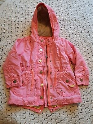 Next Girls Coat 3-4 Years Bright Pink Quilted
