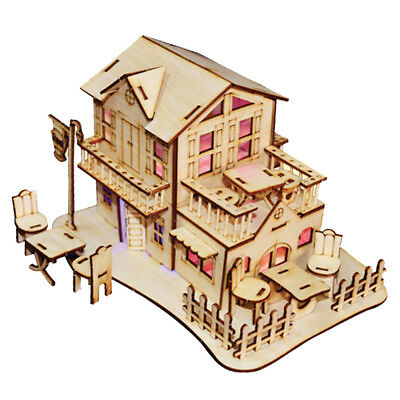 1/24 Mini Dollhouse Wooden DIY Model House Puzzle 3D con lampada a LED