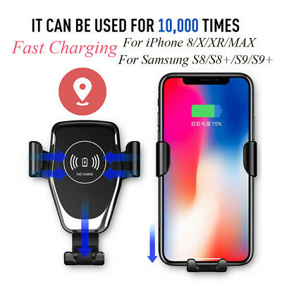 10W QI Wireless Fast Charger Car Mount Holder Stand For iPhone 8 X Samsung S9 S8