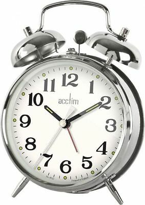 Acctim Selworth Clock Keywound Wind Up Double Bell Alarm Clock Bedside 15277