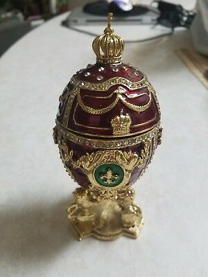 """St Petersburg Russian Faberge Egg: Royal Egg on the Lion Stand, 6.5"""""""