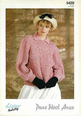 "LI5420 LADIES ARAN CABLE & LACE SWEATER KNITTING PATTERN 30-44""/76-112cm"